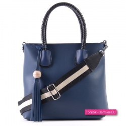 Granatowa torba shopper z kosmetyczką i paskiem dopinanym
