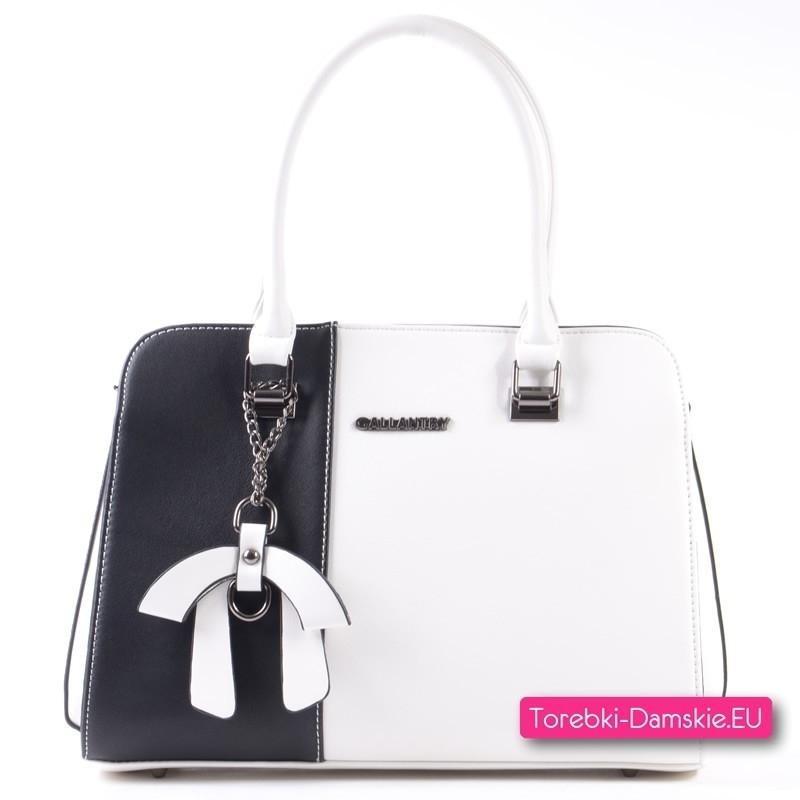 Torebka biało - czarna - markowy, modny kuferek