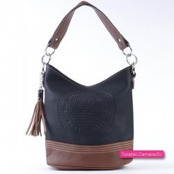 Czarno - brązowa torebka średniej wielkości z pieczątką
