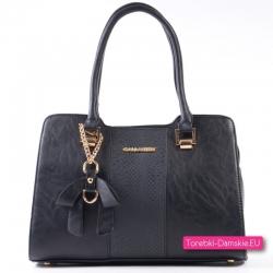 Czarna torebka ze wstawką ze skóry węża - kuferek ze złotymi ozdobami