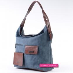 Niebieska torba z brązowymi...