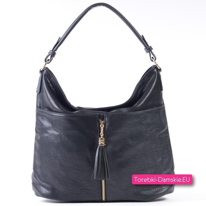 Czarna torba damska A4 z ozdobnym złotym suwakiem i frędzlem