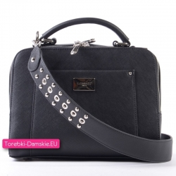 Kuferek czarny dwukomorowy z paskiem ozdobionym ćwiekami