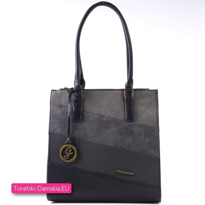 Czarno - szara pojemna torebka na ramię A4