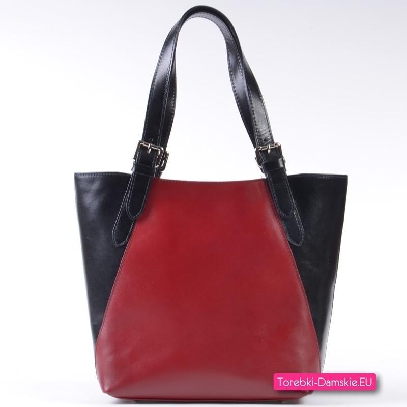 Czerwono - czarna włoska torebka damska ze skóry naturalnej