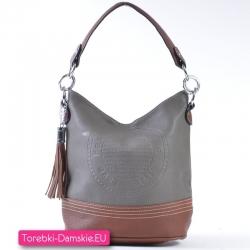 Szaro - brązowa torebka średniej wielkości z ozdobną pieczątką