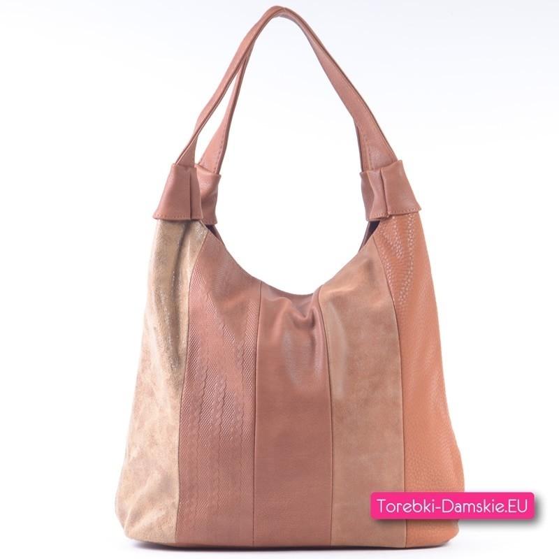 Pojemna brązowa torebka damska w czterech modnych odcieniach