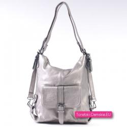 Torba i plecak damski w jednym - kolor ciemne srebro