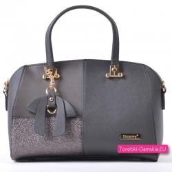 Szaro - srebrny kuferek - lekka torebka średniej wielkości