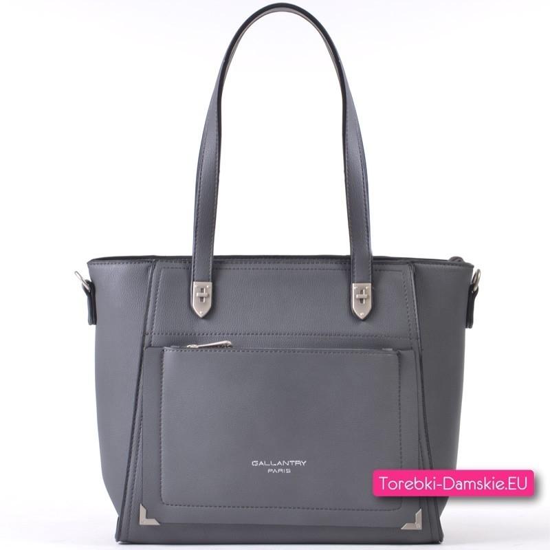 Szara torebka na ramię z kieszenią z przodu
