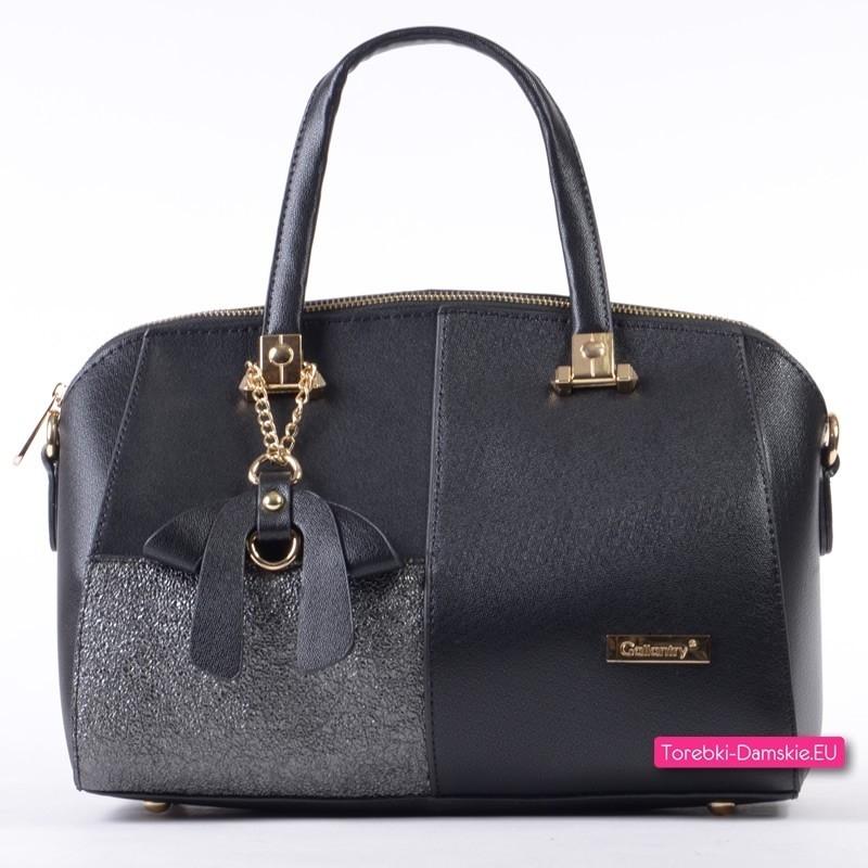 Czarno - grafitowy kuferek - torebka średniej wielkości
