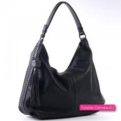 Czarna miejska torebka na ramię A4