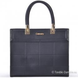 Czarna torebka ze złotymi okuciami - teczka/kuferek
