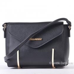 Czarna mała torebka z klapką i złotymi okuciami