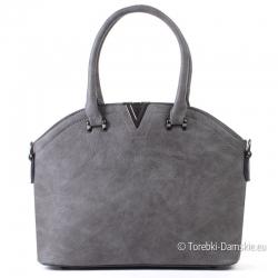 Szara torebka - kuferek z metalową ozdobą