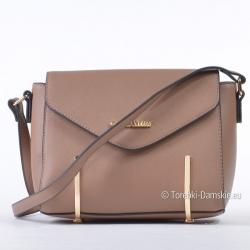 Beżowa mała listonoszka - torebka ze złotymi ozdobami
