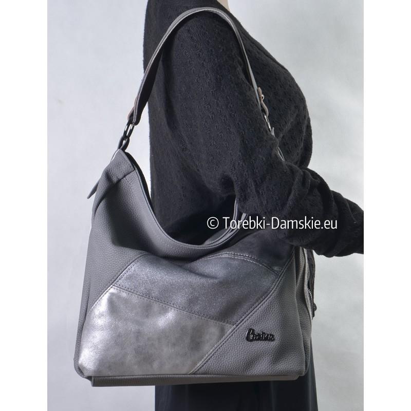 Szaro - srebrno - grafitowa torebka damska