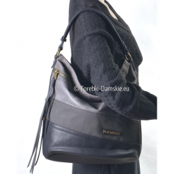 Duża czarno-szara torba na ramię