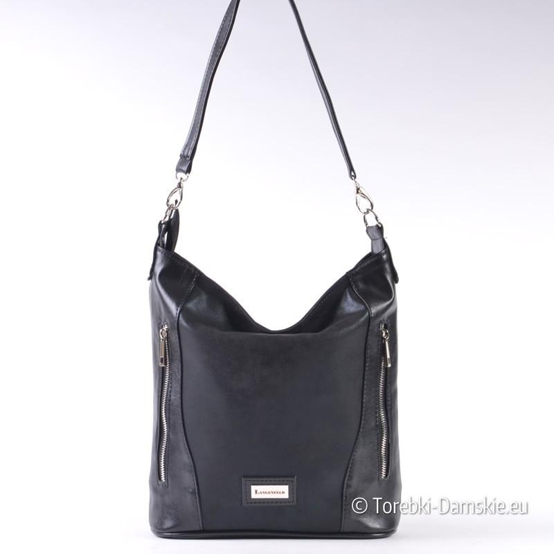 Lekka czarna torebka damska z dwoma suwakami z przodu