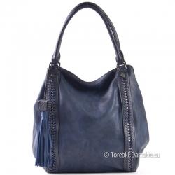 Granatowa torba damska - pojemny shopper z ozdobnymi warkoczami z przodu