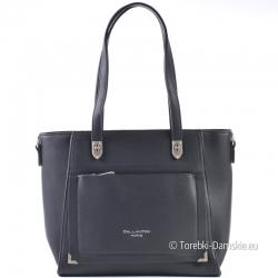 Stylowa czarna torebka damska z kieszenią z przodu