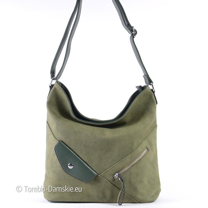 Zielona torebka damska A4 z suwakiem z przodu