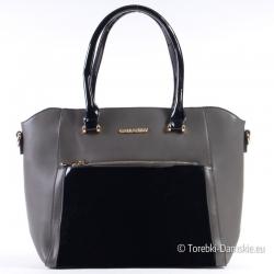 Szaro - czarna torebka z lakierowanymi elementami