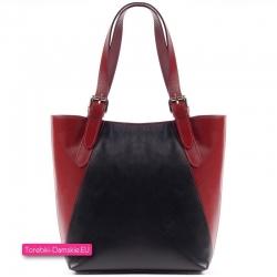 Czarno - bordowa torba skórzana
