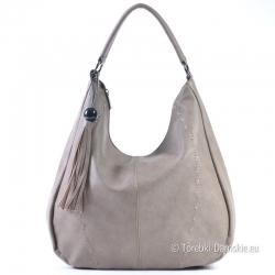 Pojemna torebka na ramię w kolorze szarym z nutą beżowego