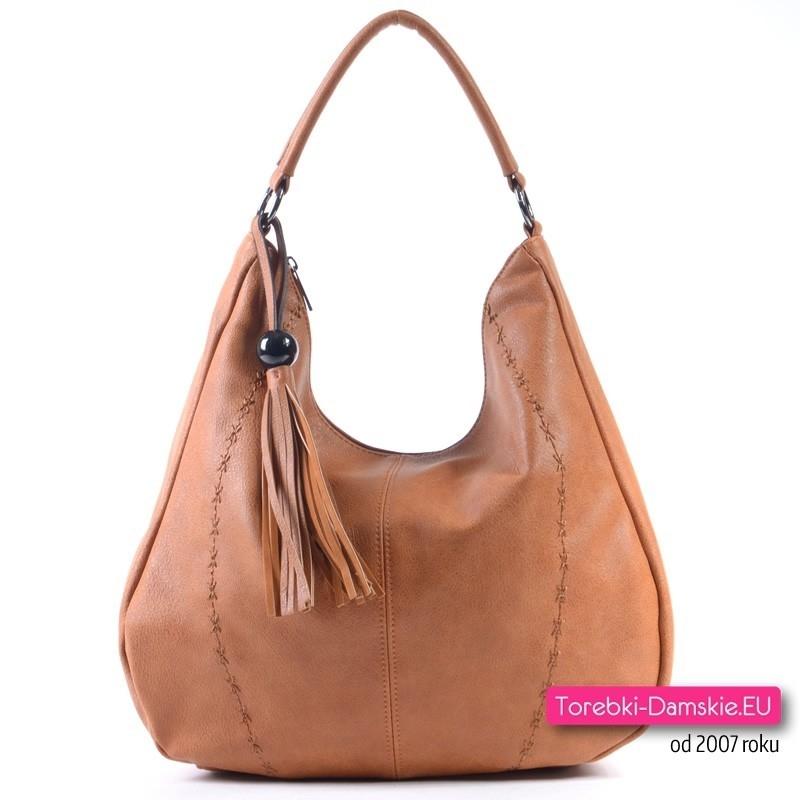 Brązowa torebka w jasnym modnym odcieniu, mieści A4, na ramię albo do przewieszenia