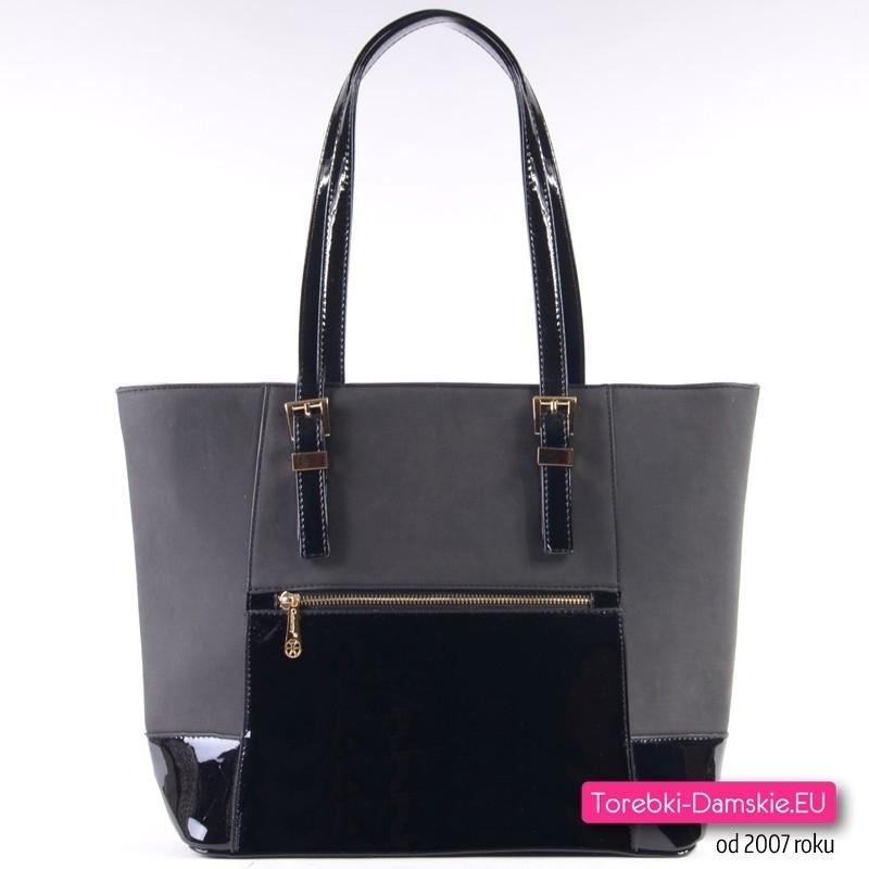 Pojemna miejska czarna torba damska na ramię