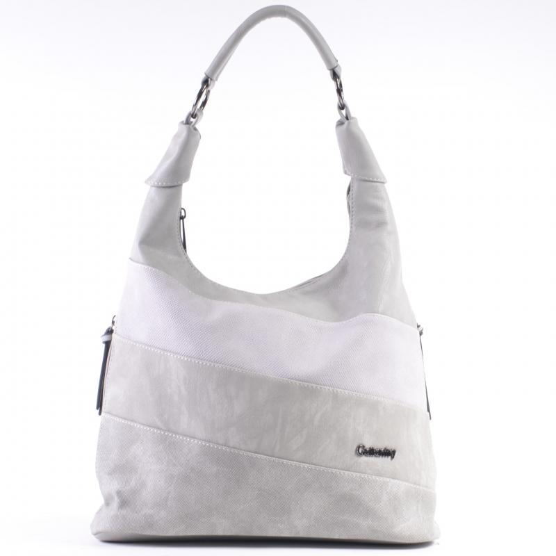 Szara torebka damska na ramię z kieszeniami na bokach