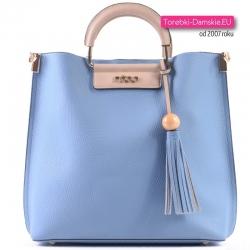 Komplet dwóch torebek Nobo: błękitny jasnoniebieski shopper i beżowa listonoszka