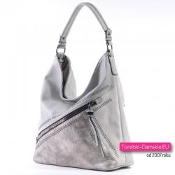 Szaro - srebrna torebka na ramię/do przewieszenia