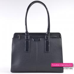 Pojemna czarna torba - teczka damska/kuferek na ramię