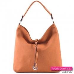Brązowa pojemna torebka - odcień rudy/karmelowy