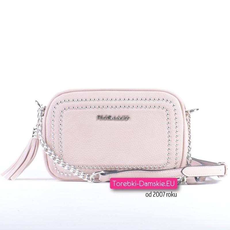 Różowa torebka crossbody - minikuferek z chwostem ozdobiony ćwiekami