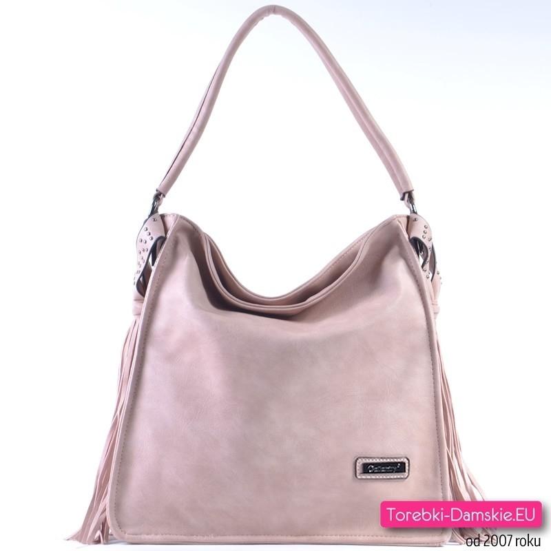 Różowa torba pastelowa - duży worek z frędzlami