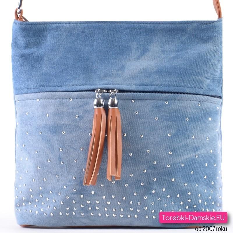 Mała jeansowa listonoszka - torebka z chwostami i crykoniami