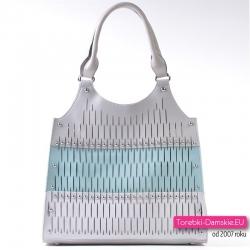 Szaro - błękitno - srebrna torba damska