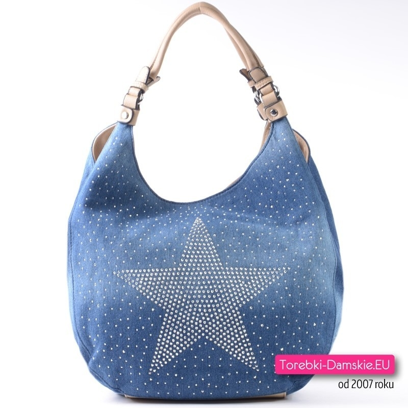 Jeansowa torba z gwiazdą z cyrkonii