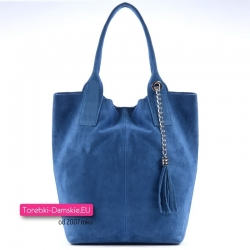 Niebieska torba damska shopper z zamszowej skóry
