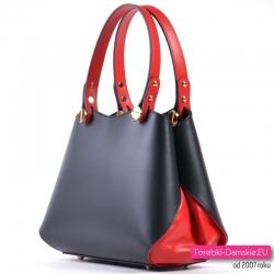 Czarno - czerwona torebka włoska ze skóry naturalnej