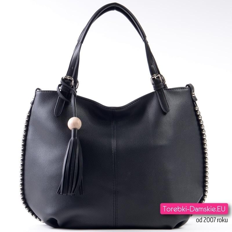 Czarna torba shopper z perłami