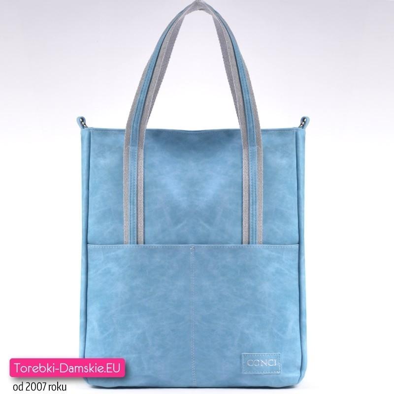 Modna niebieska torba miejska shopper - pojemny, praktyczny, elegancki model