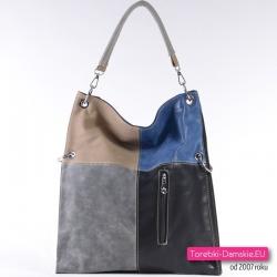 Szaro - beżowo - niebiesko - czarna torba damska