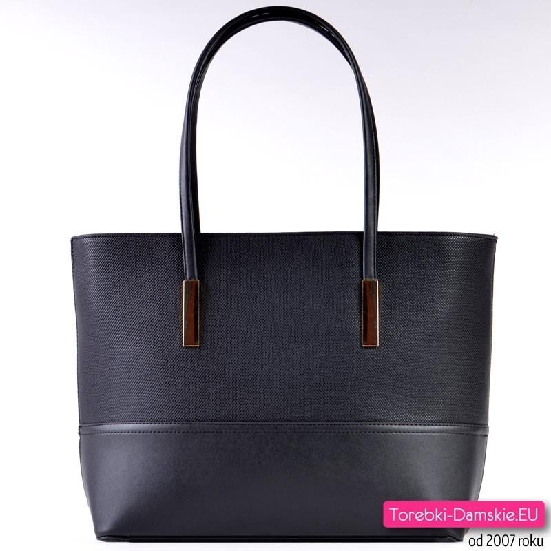 Czarna duża torba damska typu biznesowego
