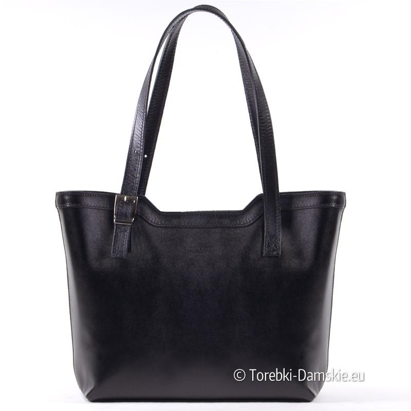 Czarna klasyczna torba skórzana na dwóch paskach