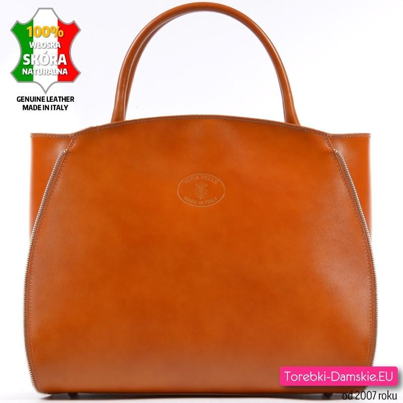 Duża skórzana teczka - kufer damski w kolorze jasnobrązowym