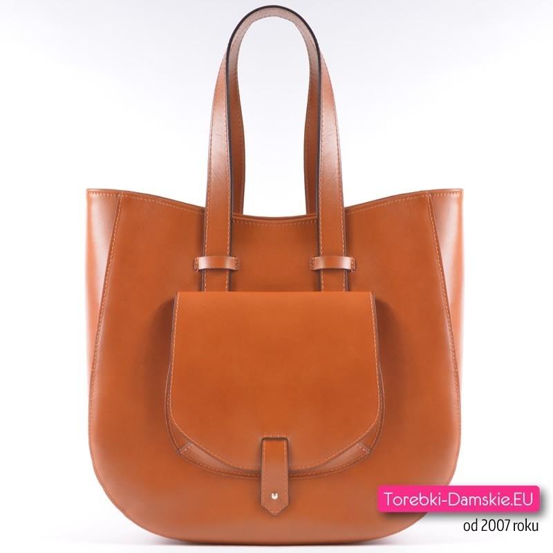 Skórzana torba z kieszonką i dwoma uchwytami w kolorze Camel